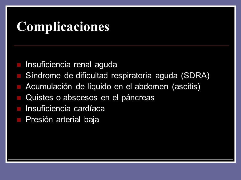 Complicaciones Insuficiencia renal aguda Síndrome de dificultad respiratoria aguda (SDRA) Acumulación de líquido en el abdomen (ascitis) Quistes o abs