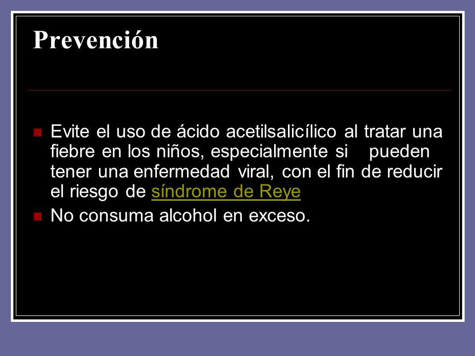 Prevención Evite el uso de ácido acetilsalicílico al tratar una fiebre en los niños, especialmente si pueden tener una enfermedad viral, con el fin de