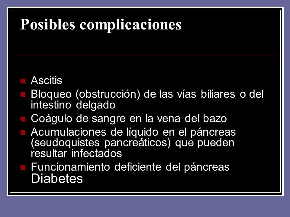 Posibles complicaciones Ascitis Bloqueo (obstrucción) de las vías biliares o del intestino delgado Coágulo de sangre en la vena del bazo Acumulaciones