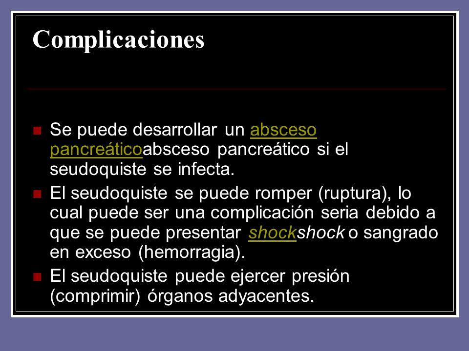 Complicaciones Se puede desarrollar un absceso pancreáticoabsceso pancreático si el seudoquiste se infecta.absceso pancreático El seudoquiste se puede