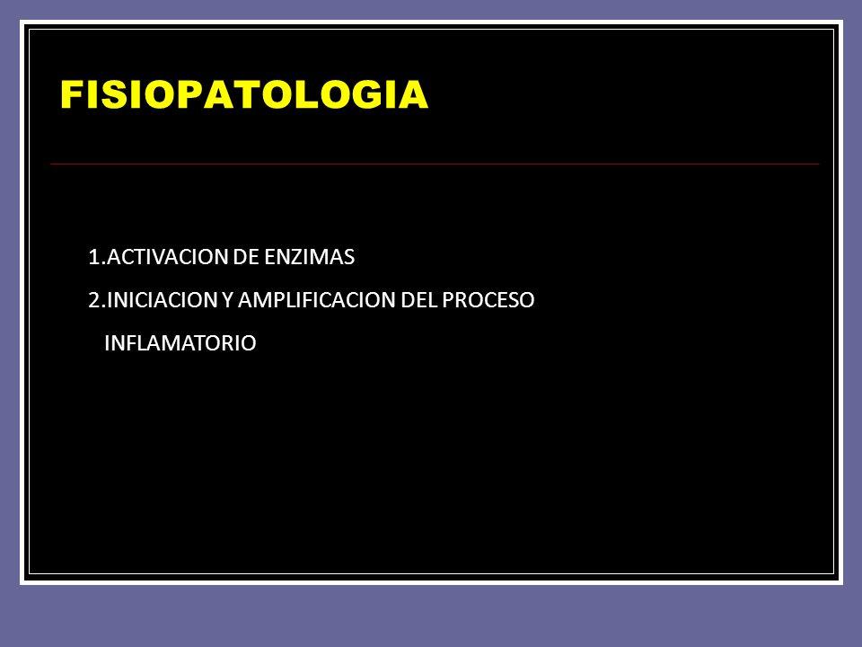 FISIOPATOLOGIA 1.ACTIVACION DE ENZIMAS 2.INICIACION Y AMPLIFICACION DEL PROCESO INFLAMATORIO