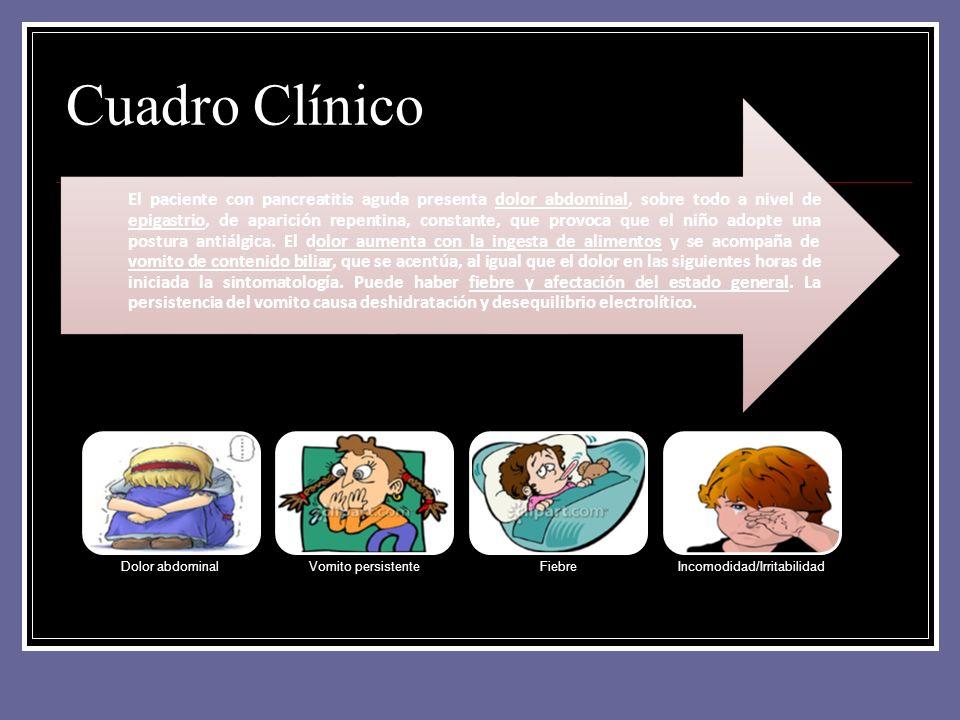 Cuadro Clínico Dolor abdominalVomito persistenteFiebreIncomodidad/Irritabilidad El paciente con pancreatitis aguda presenta dolor abdominal, sobre tod
