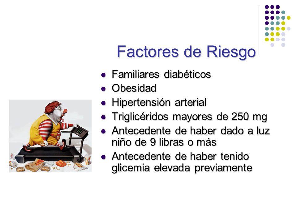 Factores de Riesgo Familiares diabéticos Familiares diabéticos Obesidad Obesidad Hipertensión arterial Hipertensión arterial Triglicéridos mayores de