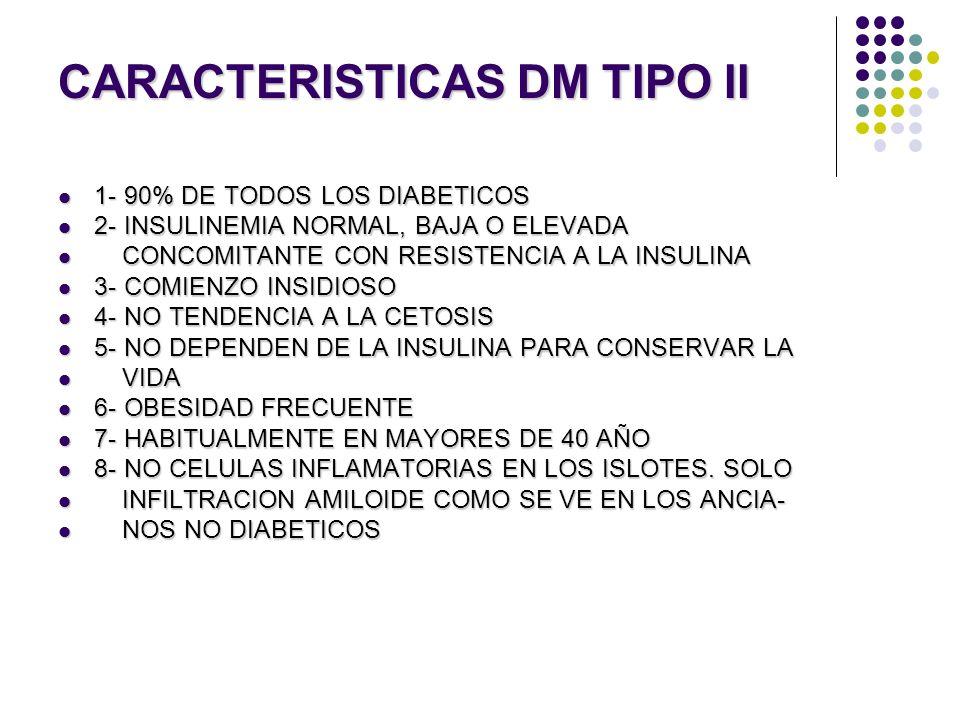 CARACTERISTICAS DM TIPO II 1- 90% DE TODOS LOS DIABETICOS 1- 90% DE TODOS LOS DIABETICOS 2- INSULINEMIA NORMAL, BAJA O ELEVADA 2- INSULINEMIA NORMAL,