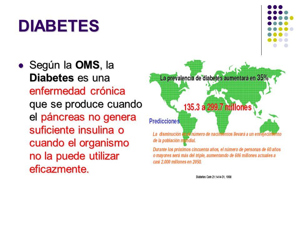 DIABETES Según la OMS, la Diabetes es una enfermedad crónica que se produce cuando el páncreas no genera suficiente insulina o cuando el organismo no