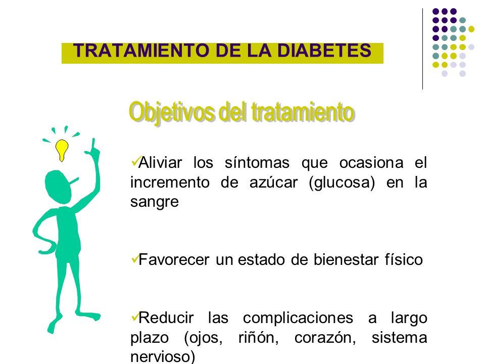 TRATAMIENTO DE LA DIABETES Aliviar los síntomas que ocasiona el incremento de azúcar (glucosa) en la sangre Favorecer un estado de bienestar físico Re