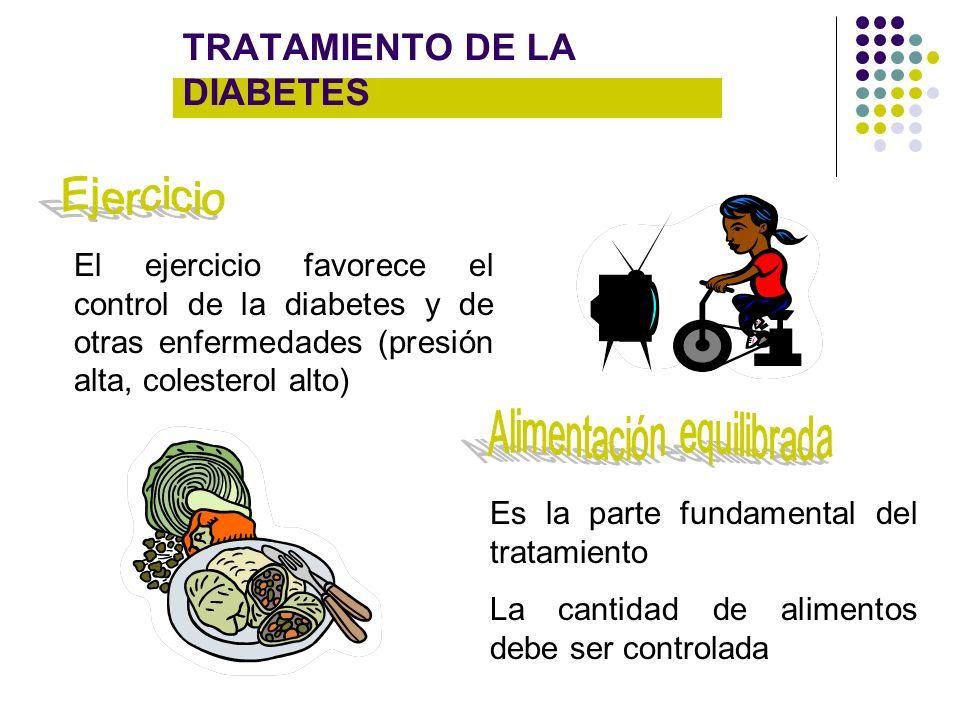 TRATAMIENTO DE LA DIABETES El ejercicio favorece el control de la diabetes y de otras enfermedades (presión alta, colesterol alto) Es la parte fundame
