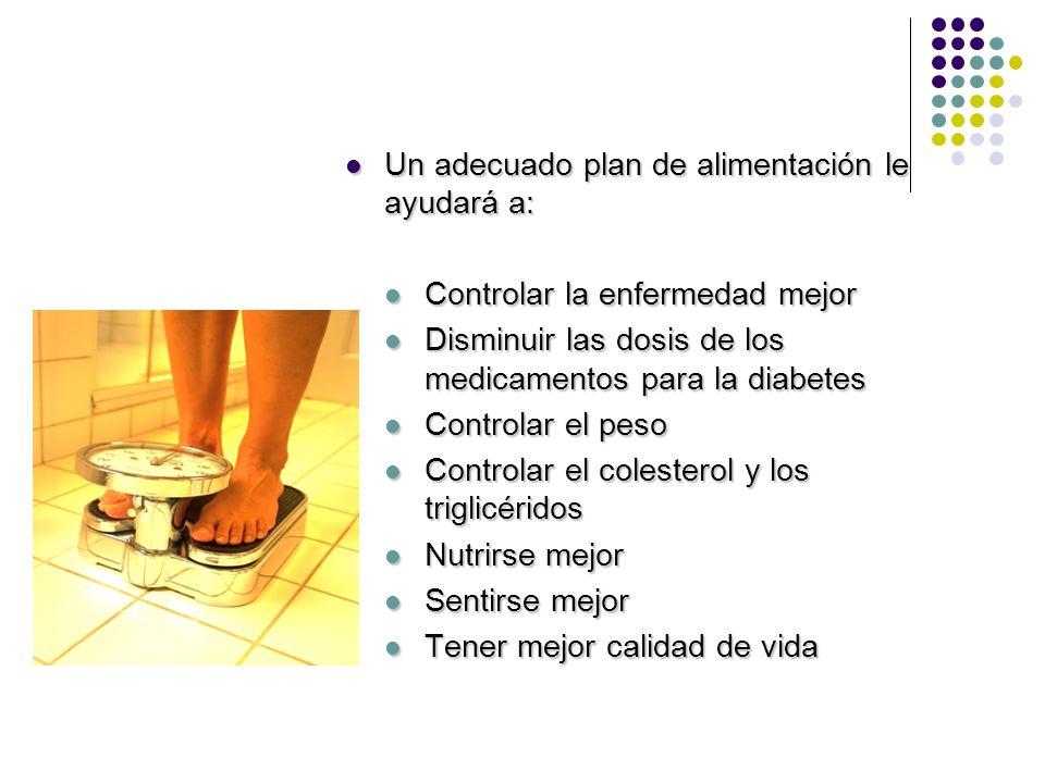Un adecuado plan de alimentación le ayudará a: Un adecuado plan de alimentación le ayudará a: Controlar la enfermedad mejor Controlar la enfermedad me