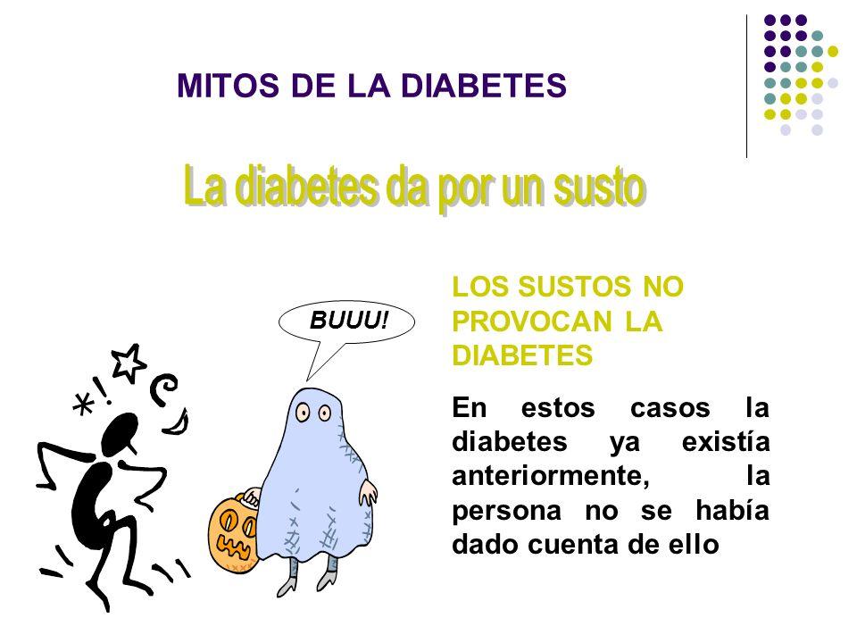 LOS SUSTOS NO PROVOCAN LA DIABETES En estos casos la diabetes ya existía anteriormente, la persona no se había dado cuenta de ello BUUU! MITOS DE LA D