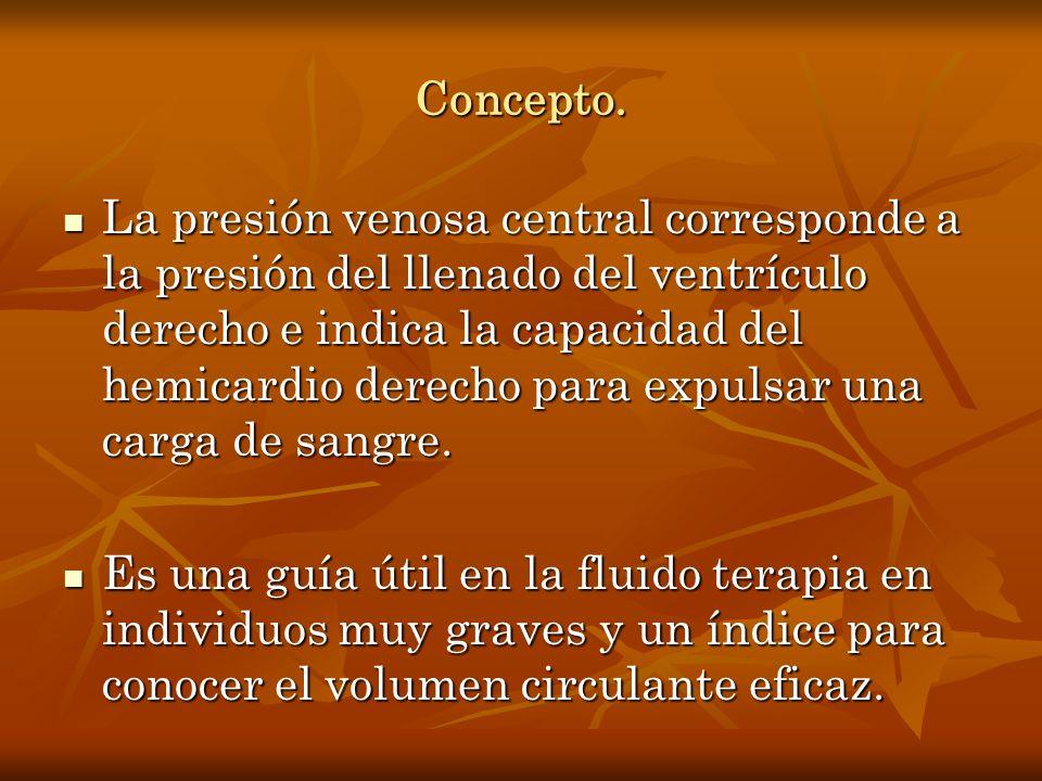 Concepto. La presión venosa central corresponde a la presión del llenado del ventrículo derecho e indica la capacidad del hemicardio derecho para expu