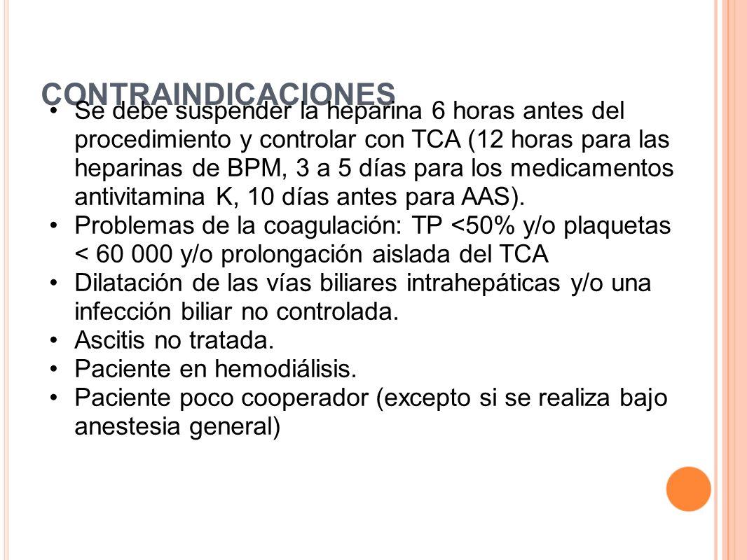 CONTRAINDICACIONES Se debe suspender la heparina 6 horas antes del procedimiento y controlar con TCA (12 horas para las heparinas de BPM, 3 a 5 días p