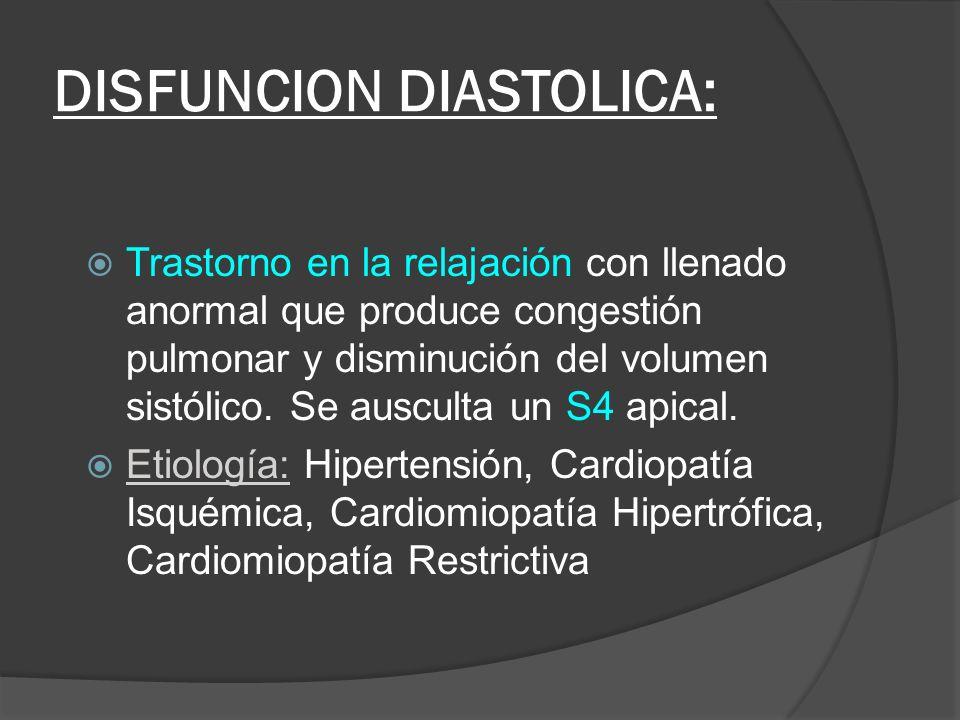 DISFUNCION DIASTOLICA: Trastorno en la relajación con llenado anormal que produce congestión pulmonar y disminución del volumen sistólico. Se ausculta