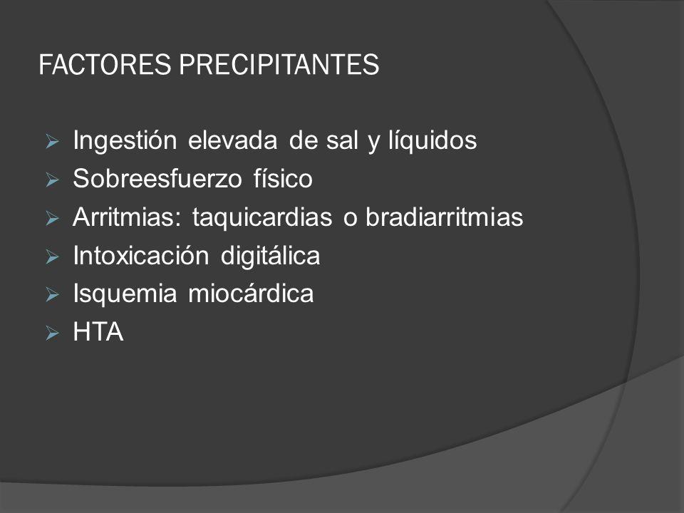 FACTORES PRECIPITANTES Ingestión elevada de sal y líquidos Sobreesfuerzo físico Arritmias: taquicardias o bradiarritmias Intoxicación digitálica Isque