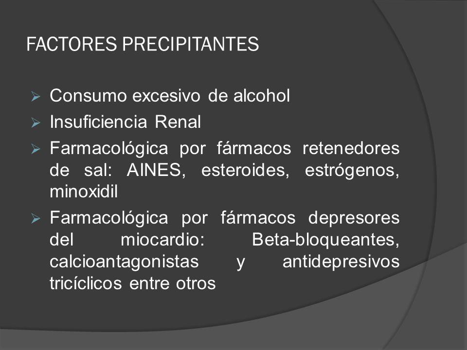 FACTORES PRECIPITANTES Consumo excesivo de alcohol Insuficiencia Renal Farmacológica por fármacos retenedores de sal: AINES, esteroides, estrógenos, m
