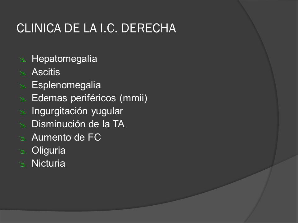 CLINICA DE LA I.C. DERECHA Hepatomegalia Ascitis Esplenomegalia Edemas periféricos (mmii) Ingurgitación yugular Disminución de la TA Aumento de FC Oli
