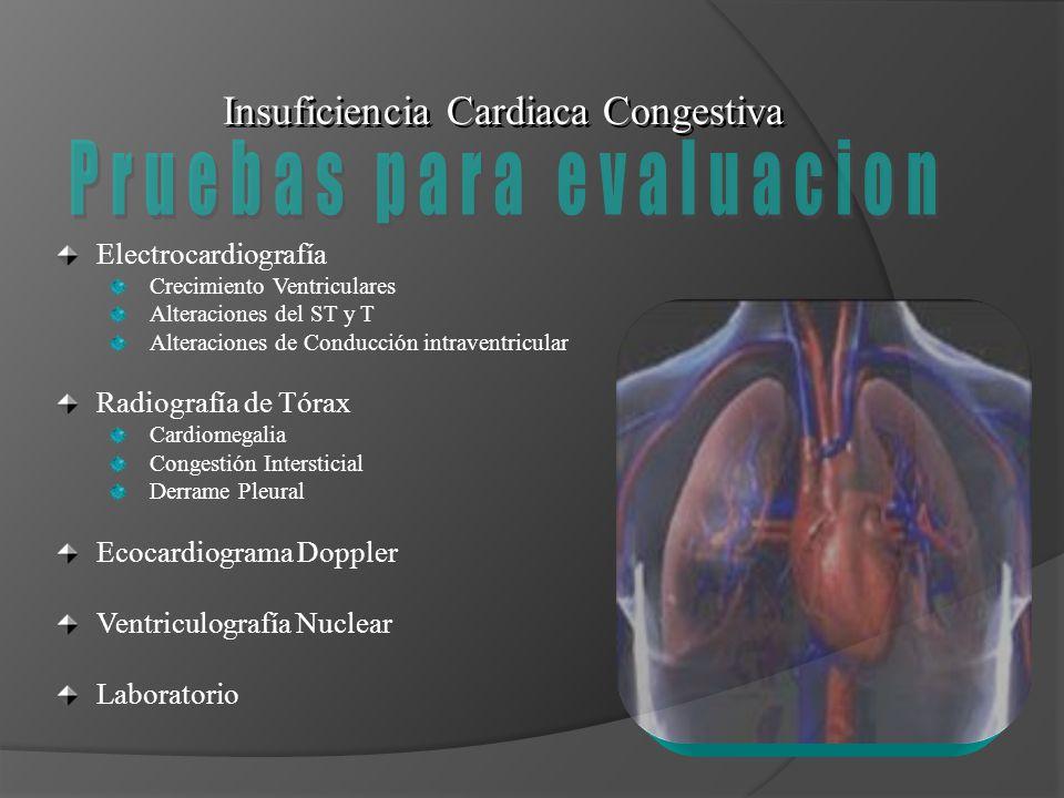 Insuficiencia Cardiaca Congestiva Electrocardiografía Crecimiento Ventriculares Alteraciones del ST y T Alteraciones de Conducción intraventricular Ra