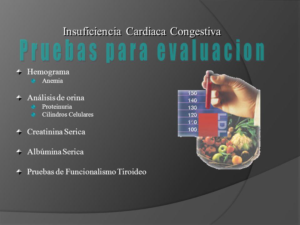 Insuficiencia Cardiaca Congestiva Hemograma Anemia Análisis de orina Proteinuria Cilindros Celulares Creatinina Serica Albúmina Serica Pruebas de Func