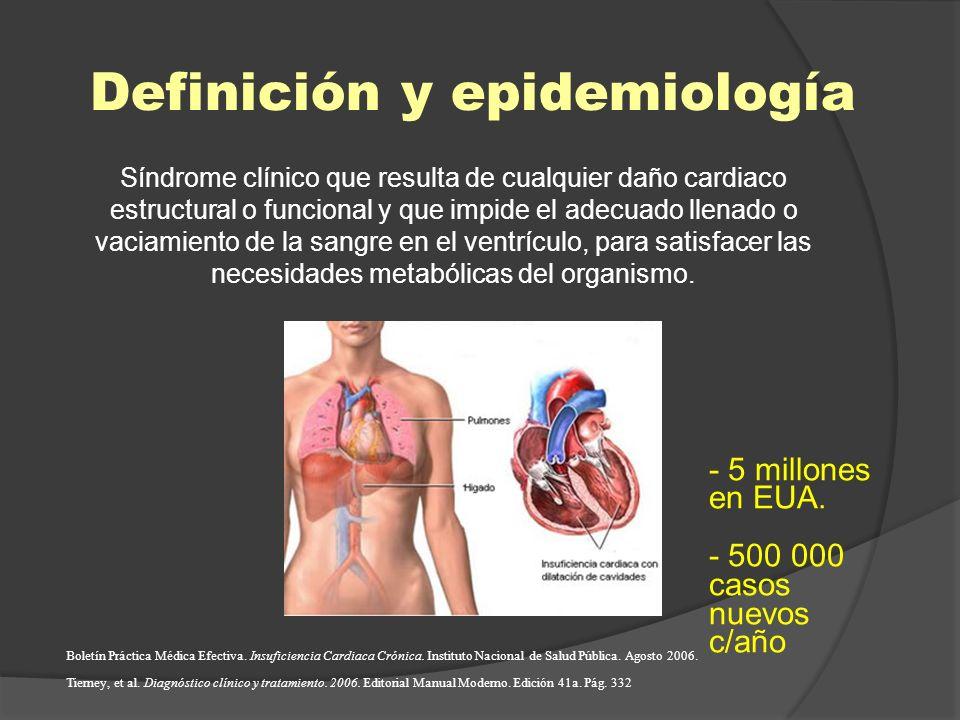 Definición y epidemiología Síndrome clínico que resulta de cualquier daño cardiaco estructural o funcional y que impide el adecuado llenado o vaciamie