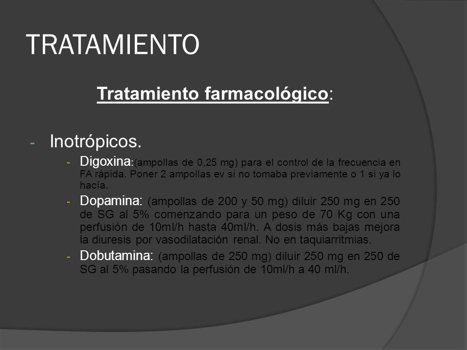 TRATAMIENTO Tratamiento farmacológico: - Inotrópicos. - Digoxina :(ampollas de 0,25 mg) para el control de la frecuencia en FA rápida. Poner 2 ampolla