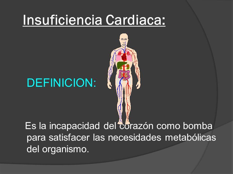 Insuficiencia Cardiaca: DEFINICION: Es la incapacidad del corazón como bomba para satisfacer las necesidades metabólicas del organismo.
