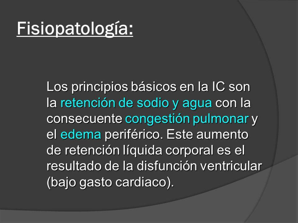 Fisiopatología: Los principios básicos en la IC son la retención de sodio y agua con la consecuente congestión pulmonar y el edema periférico. Este au