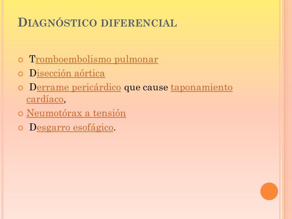D IAGNÓSTICO DIFERENCIAL Tromboembolismo pulmonarromboembolismo pulmonar Disección aórticaisección aórtica Derrame pericárdico que cause taponamiento