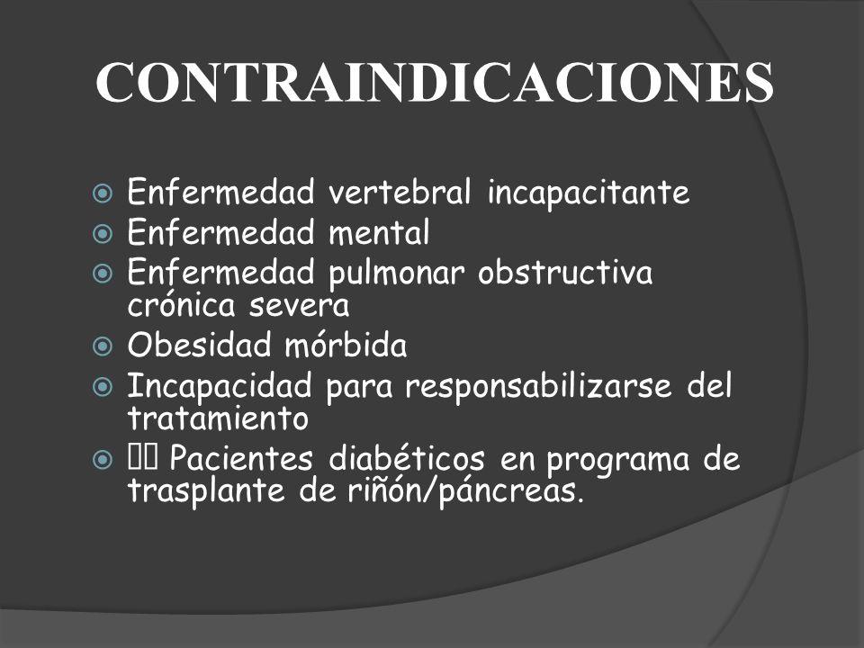 CONTRAINDICACIONES Enfermedad vertebral incapacitante Enfermedad mental Enfermedad pulmonar obstructiva crónica severa Obesidad mórbida Incapacidad pa