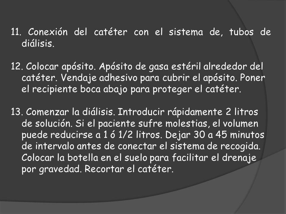 11. Conexión del catéter con el sistema de, tubos de diálisis. 12. Colocar apósito. Apósito de gasa estéril alrededor del catéter. Vendaje adhesivo pa