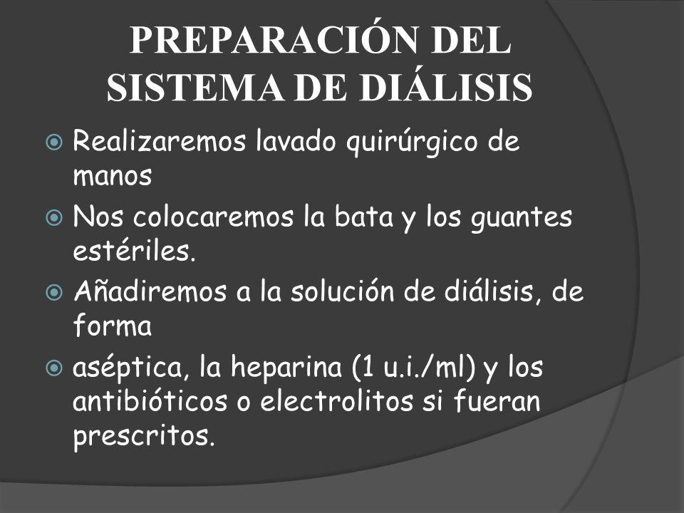 PREPARACIÓN DEL SISTEMA DE DIÁLISIS Realizaremos lavado quirúrgico de manos Nos colocaremos la bata y los guantes estériles. Añadiremos a la solución