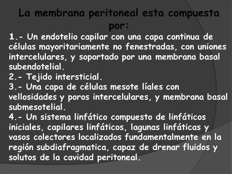 COMPOSICIÓN DE LÍQUIDOS DE DIÁLISIS PERITONEAL ISOOSMOLARHIPEROSMOLAR OSMOLARIDAD358 mOsm/l398 mOsm/l GLUCOSA1,5 gr/100 ml2,3 gr/100 ml SODIO134 mmol/l CLORO103,5 mmol/l CALCIO1,75 mmol/l MAGNESIO0,5 mmol/l LACTATO3,5 mmol/l Al líquido de diálisis se le añadirá también heparina, con el fin de evitar que se formen coágulos de fibrina.