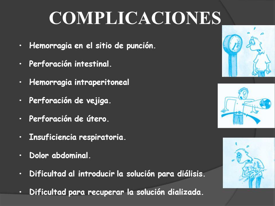 COMPLICACIONES Hemorragia en el sitio de punción. Perforación intestinal. Hemorragia intraperitoneal Perforación de vejiga. Perforación de útero. Insu