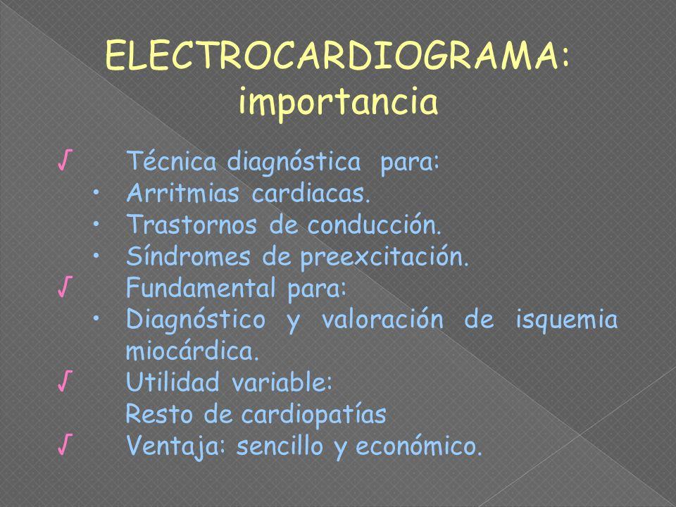 Técnica diagnóstica para: Arritmias cardiacas. Trastornos de conducción. Síndromes de preexcitación. Fundamental para: Diagnóstico y valoración de isq