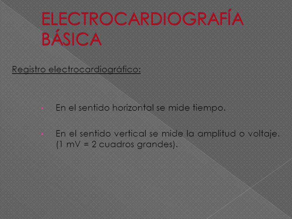 Registro electrocardiográfico: En el sentido horizontal se mide tiempo. En el sentido vertical se mide la amplitud o voltaje. (1 mV = 2 cuadros grande