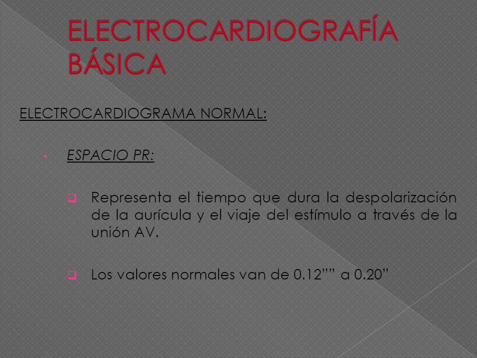 ELECTROCARDIOGRAMA NORMAL: ESPACIO PR: Representa el tiempo que dura la despolarización de la aurícula y el viaje del estímulo a través de la unión AV