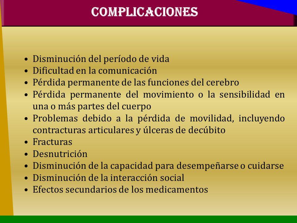 COMPLICACIONES Disminución del período de vida Dificultad en la comunicación Pérdida permanente de las funciones del cerebro Pérdida permanente del mo