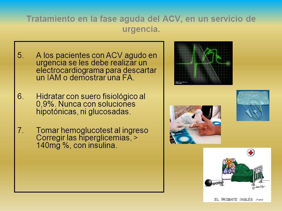 Tratamiento en la fase aguda del ACV, en un servicio de urgencia. 5.A los pacientes con ACV agudo en urgencia se les debe realizar un electrocardiogra