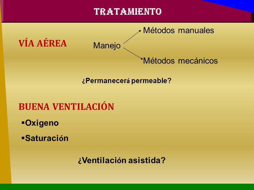 VÍA AÉREA Métodos manuales Manejo Métodos mecánicos ¿ Permanecer á permeable? BUENA VENTILACIÓN Oxigeno Saturaci ó n ¿ Ventilaci ó n asistida? TRATAMI
