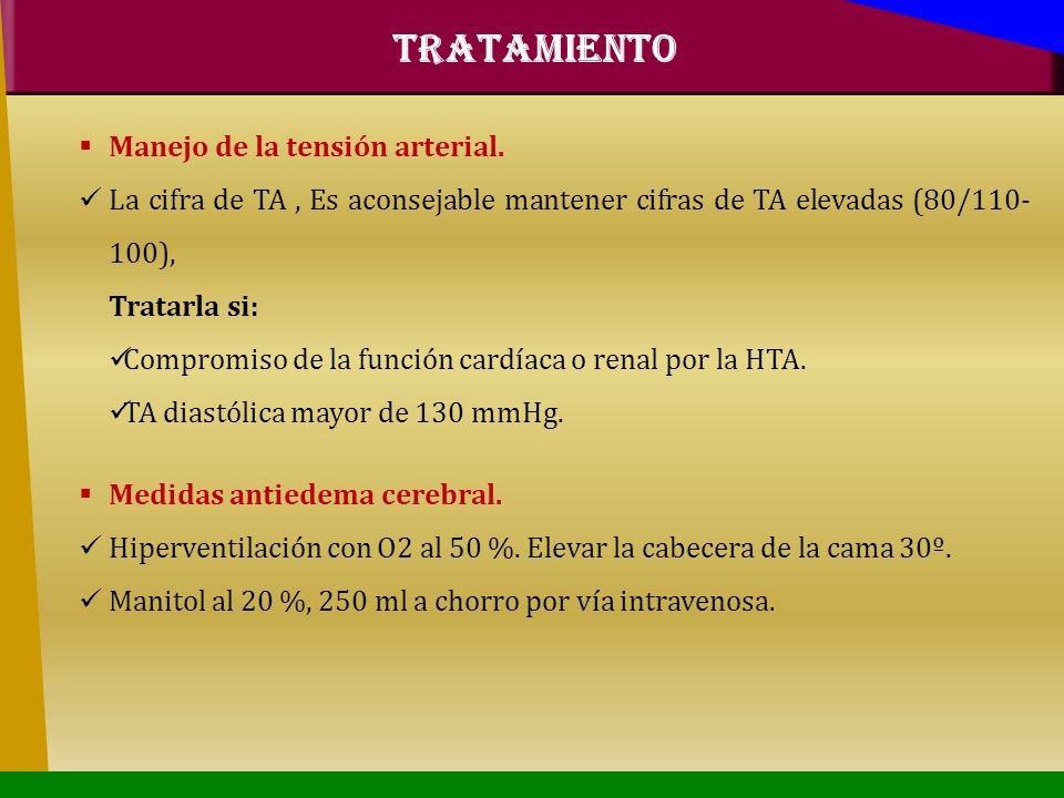 Manejo de la tensión arterial. La cifra de TA, Es aconsejable mantener cifras de TA elevadas (80/110- 100), Tratarla si: Compromiso de la función card