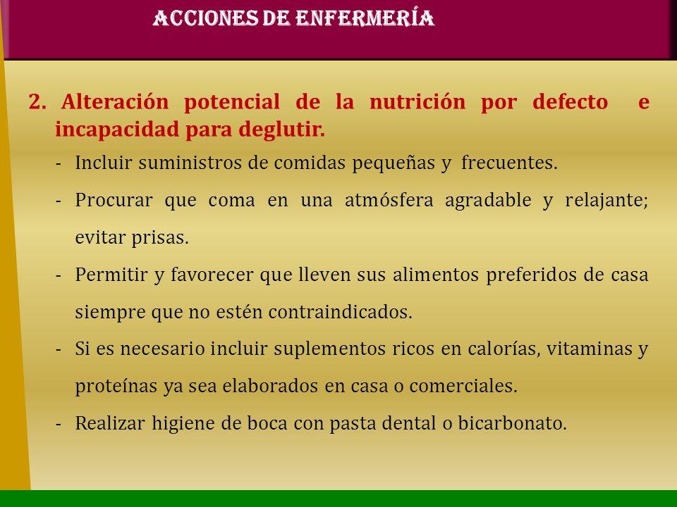 2. Alteración potencial de la nutrición por defecto e incapacidad para deglutir. -Incluir suministros de comidas pequeñas y frecuentes. -Procurar que