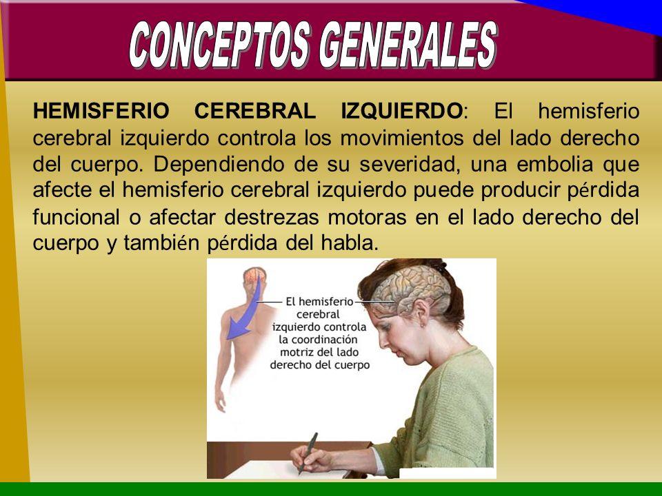 HEMISFERIO CEREBRAL IZQUIERDO: El hemisferio cerebral izquierdo controla los movimientos del lado derecho del cuerpo. Dependiendo de su severidad, una