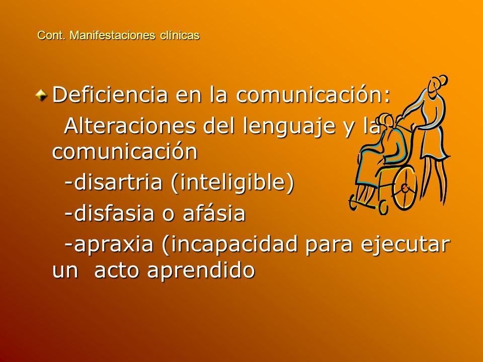 Deficiencia en la comunicación: Alteraciones del lenguaje y la comunicación Alteraciones del lenguaje y la comunicación -disartria (inteligible) -disa