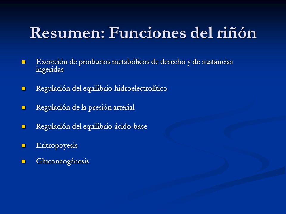 Resumen: Funciones del riñón Excreción de productos metabólicos de desecho y de sustancias ingeridas Excreción de productos metabólicos de desecho y d