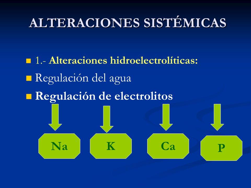 ALTERACIONES SISTÉMICAS 1.- Alteraciones hidroelectrolíticas: Regulación del agua Regulación de electrolitos NaKCa P