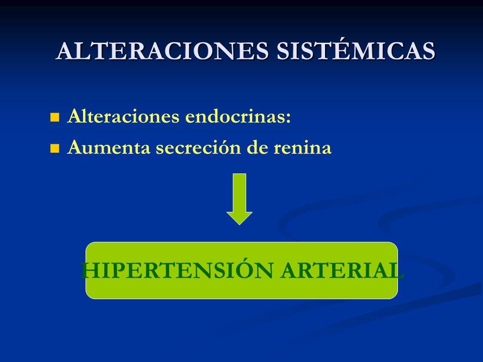ALTERACIONES SISTÉMICAS Alteraciones endocrinas: Aumenta secreción de renina HIPERTENSIÓN ARTERIAL