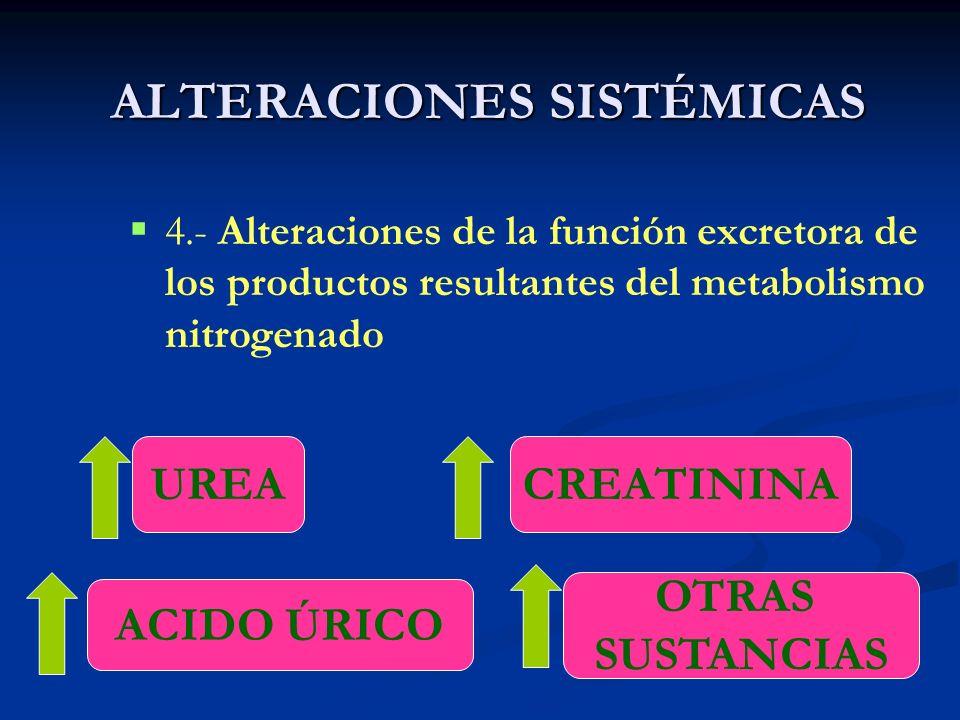 ALTERACIONES SISTÉMICAS 4.- Alteraciones de la función excretora de los productos resultantes del metabolismo nitrogenado UREACREATININA ACIDO ÚRICO O