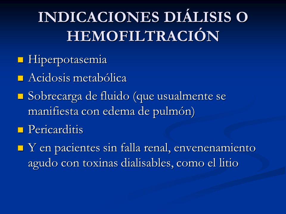 INDICACIONES DIÁLISIS O HEMOFILTRACIÓN Hiperpotasemia Hiperpotasemia Acidosis metabólica Acidosis metabólica Sobrecarga de fluido (que usualmente se m