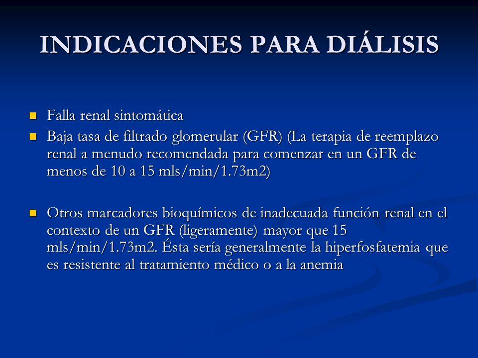INDICACIONES PARA DIÁLISIS Falla renal sintomática Falla renal sintomática Baja tasa de filtrado glomerular (GFR) (La terapia de reemplazo renal a men
