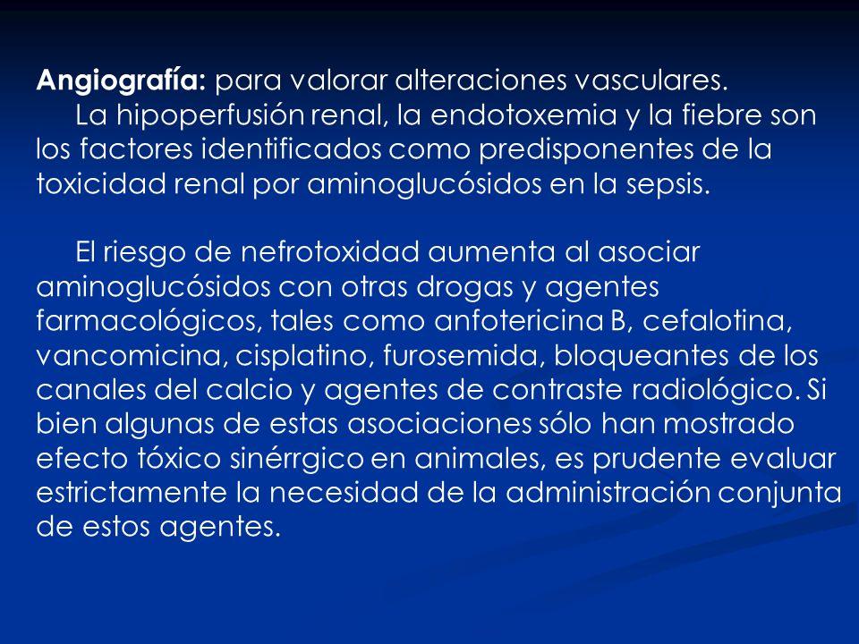 Angiografía: para valorar alteraciones vasculares. La hipoperfusión renal, la endotoxemia y la fiebre son los factores identificados como predisponent
