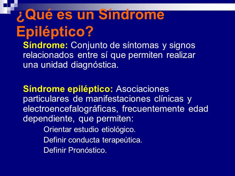 ¿Qué es un Síndrome Epiléptico? Síndrome: Conjunto de síntomas y signos relacionados entre sí que permiten realizar una unidad diagnóstica. Síndrome e