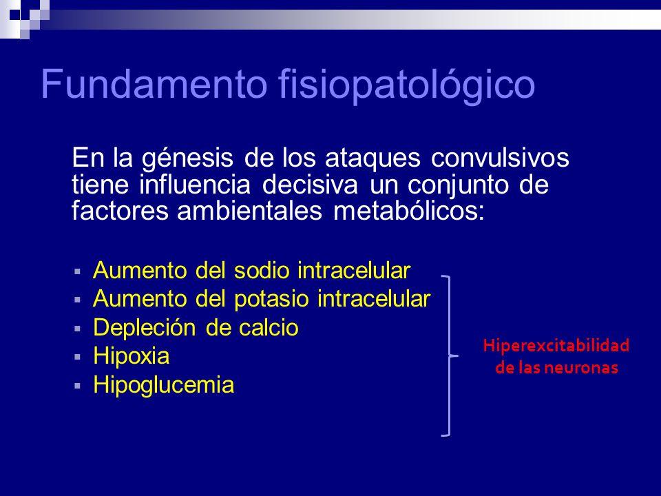 Fundamento fisiopatológico En la génesis de los ataques convulsivos tiene influencia decisiva un conjunto de factores ambientales metabólicos: Aumento del sodio intracelular Aumento del potasio intracelular Depleción de calcio Hipoxia Hipoglucemia Hiperexcitabilidad de las neuronas